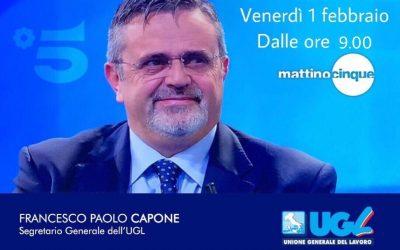 Venerdì 1° febbraio ore 09.00 Mattino5 – Canale5
