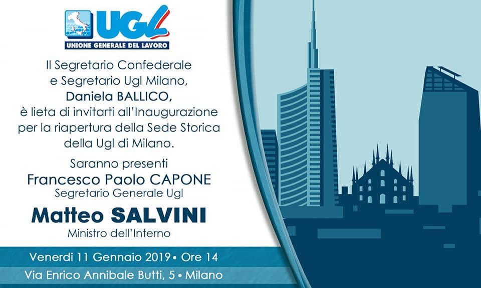 Venerdì 11 Gennaio: con Capone e Salvini inaugurazione Ugl Milano. Poi dibattito su legge di bilancio